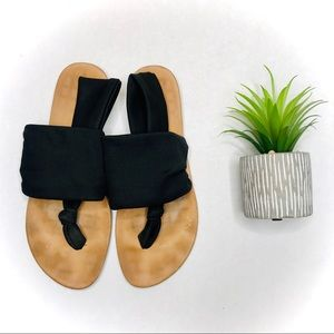 Dirty Laundry Black Sling Stretch Sandals